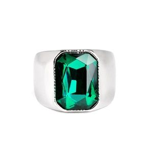 Jewelry - Scholar - Green Emerald Silver Stretchy Band Ring